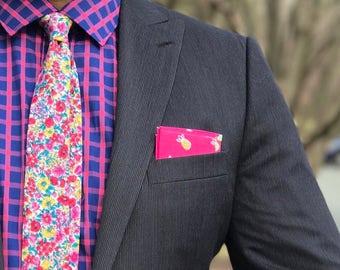 Pink Floral Tie Boyfriend Gift Men's Gift Anniversary Gift for Men Husband Gift Wedding Gift For Him Groomsmen Gift for Friend Gift Ideas