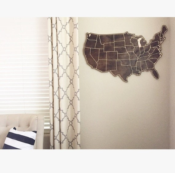 Medium Size Wood Map of The United States of America with State Lines Engraved