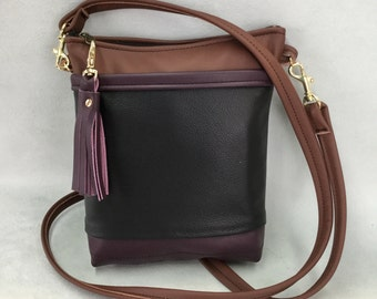 Italian Leather crossbody shoulder bag purse black eggplant brown  modern classic pockets tassel wear with anything Pat Halpen Leather