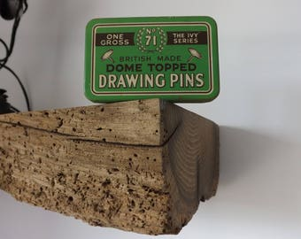 Vintage British made dome topped drawing pins tin
