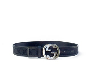 Women's Gucci Belt // Guccissima 114876 waist belt size 32 black canvas and leather adjustable designer belt with silver double G buckle