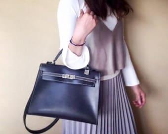 Kelly Bag Dark Gray Leather Handbag - Crossbody bag - Shoulder Bag with silver tone lock & keys - Gift for her
