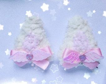Kawaii Clip In Kitty Ears, Fairy Kei, Sweet Lolita, Pastel Kei, Harajuku etc inspired