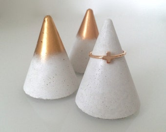 Concrete ring cone / Concrete ring holder / Copper and Gold ring cone