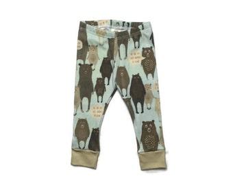 baby leggings // organic baby leggings // bear leggings // organic baby clothes // baby gift // toddler leggings // baby leggings boy