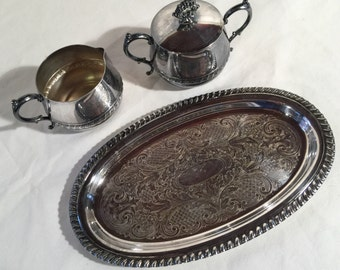 Crosby silverplated sugar and creamer with lid and platter