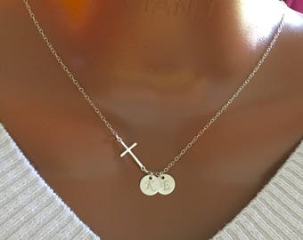 Personalized Necklace, Sterling Silver Cross and Discs Necklace, Personalized Initial Necklace, Personalized Gift, Beautiful Gift