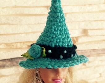 Turquoise hat, crochet hat, Barbie witch hat, Fashion doll witch hat, Barbie clothes, doll hat, Barbie accessories