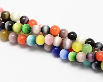 1 Strand Assorted Color Glass Cat's Eye Beads 6mm (B191i/243c3)