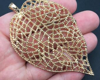 1 Large Tibetan Style Leaf Golden Tone Charm, Pendant, Nature, Crafting, Jewelry Making, (AC053)