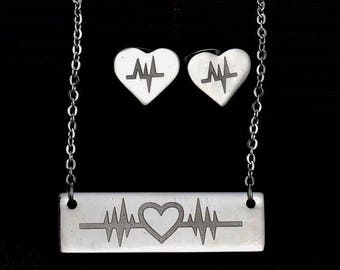 Heart ECG Bar Pendant with Matching Earrings!!