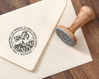 RETURN ADDRESS STAMP - Rubber Stamp Address - Family Address Stamp - Home Address Gift - Family Anniversary Gift - Dove with Envelope
