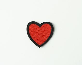 Red Heart Embroidered Iron on Patch Applique DIY