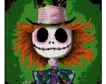 Jack Skellington Mad Hatter Cross Stitch crossover (jack hatter)