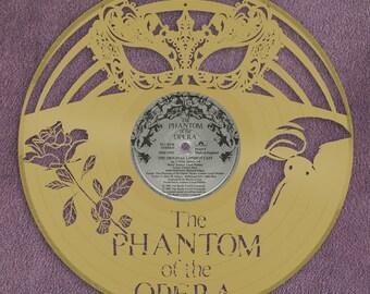 Phantom Of Opera Wall Art, Masquerade Mask, Venetian Mask, Musical Phantom Mask, Wall Decor, Broadway Musical Gift, Vinyl Record Art Decor