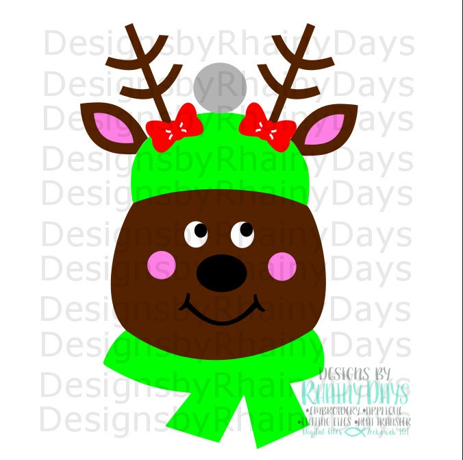 Reindeer girl cutting file, Christmas reindeer, cute deer with scarf, SVG, DXF, png, design