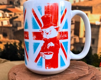 AristoCat. British Teetotaler Cat.  11oz or 15oz Coffee Mug.