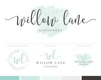 Logo Design Photography Logo Brand Package - Photography logo and Watermark - Mint Watercolor Logo - Premade Logo Brand Kit