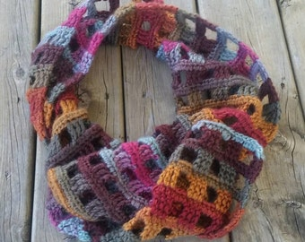 Windowpane Scarf-Desert Spring-All Natural-Crochet Scarf
