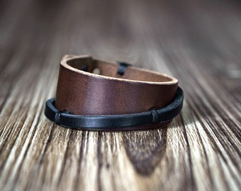 Dark brown unisex leather bracelet cuff -men's bracelet - women's  bracelet - leather cuff -  gift for men - gift for women
