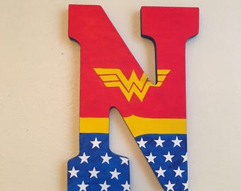 """Wonder Woman 9"""" Hand-Painted Wall Letters"""