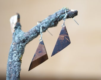 TRIangle collection, Nr3, wooden earrings, spalted oak, accessories, gift idea for woman & girls, present