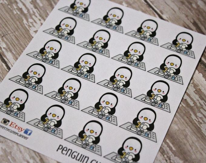 Penguin Stickers - Penguin Planner Stickers - Character Stickers - Chore stickers - Dishes Stickers - Dish washing Penquin - Penquin Chores