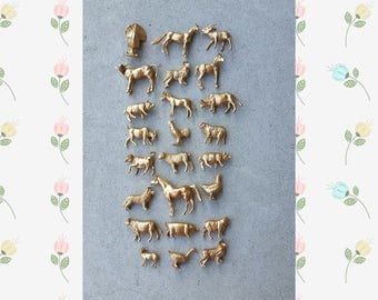 Gold Mini Farm Animal Favors, 12 Chic Gold Rustic Animal Party Decorations, Mini Farm Animal Favors, Farm Animals Fall Decor, Barn Party