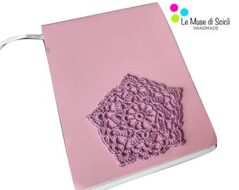 Pink notebook with violet crochet decoration