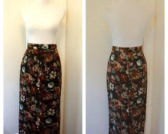Vintage 1980s Pencil Skirt / Long Floral Skirt / 1980s Floral Skirt
