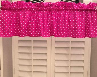 Cotton Valance Polka Dots & Spots Small Dot White on Fuchsia / Window Decor / Window Treatments