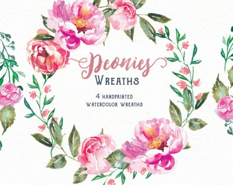Flower Clipart Wreaths, 4 watercolor Peonies wreaths in gorgeous pink. Perfect for a floral wedding invite or greeting card design.