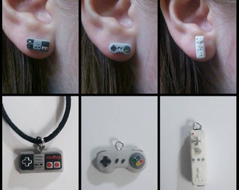 NES SNES Wii Nintendo Controller Earrings and/or Necklaces Polymer Clay Handmade