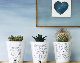 Animal Plant Pots - Scandi Animal Plant Pots - Scandi Animal Plant Pot Set