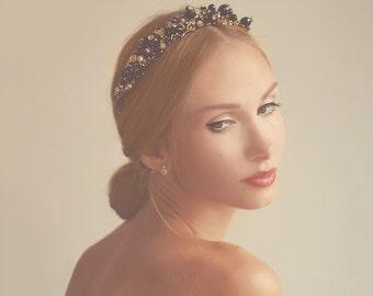 Queen Glass Crystals Beaded Headband Tiara OOAK