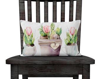 Spring tulip pillow - watercolor floral - easter pillow - farmhouse decor - easter decoration - flower decor - spring decor - floral cushion