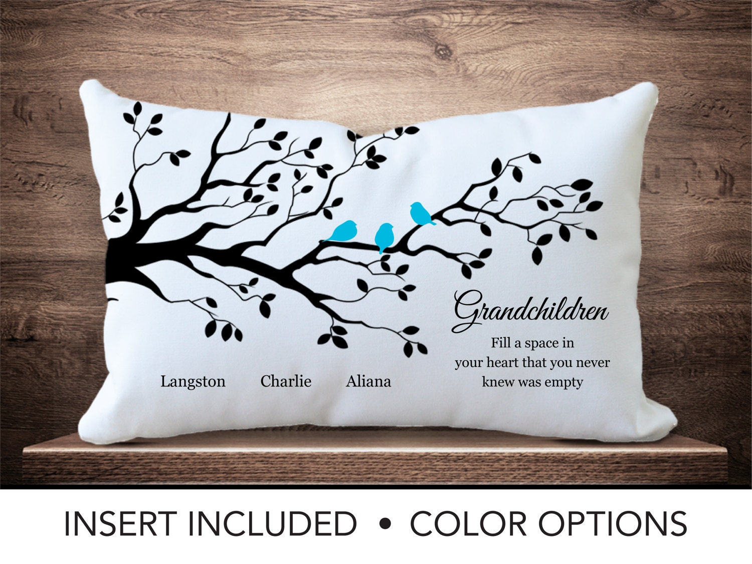 Grandchildren family tree pillow personalized for Birthday gifts for grandma from granddaughter