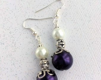 Bridesmaid White Purple Earrings, White Violet Jewelry, Dangle Violet White Earrings, Pearl Bridesmaid Jewelry, Bridesmaid Gift