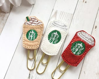 Mini Glam Coffee Cup Planner Clip - Christmas Red Cup - Iced Coffee - Hot Cup - Party Favor - Bookmark - Planner Accessories - Coffee Lover