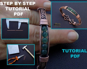 Bracelet tutorial,wire weaving tutorial,Jewelry tutorial,Bracelet tutorial,Cuff tutorial,wire wrapped bracelet tutorial,PDF lesson tutorial