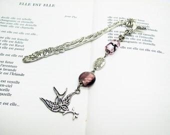 Bookmark jewel motif Hummingbird, beads and pendant swallow, brand-book, bookmark, gift woman, reading accessory