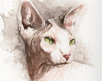 Custom Sphinx, Cornish Rex, Devon Rex Cat Painting - Memorial Portraits