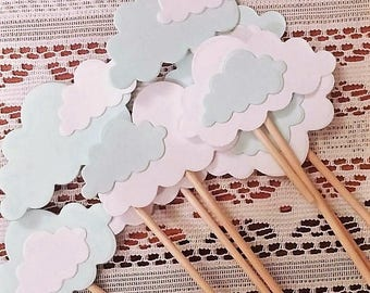 Cloud cupcake toppers/decorations. Wedding/shower/party decor. Hot air balloon/airplane/rainbow/sunshine. Customize colors. Set of 24