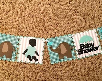 Baby Shower, Elephant  Gender Neutral or Boy banner