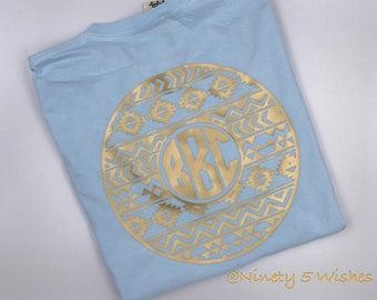 Aztec Monogram Circle, Short Sleeve Tee, Soft Style, Personalized Shirt