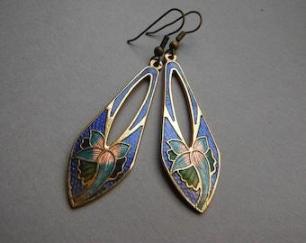 Vintage Art Nouvea Style Cloisonne Floral Drop Earrings