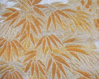 318: Japanese vintage kimono obi sash silk gorgeous embroidery gold white orange bamboo wave