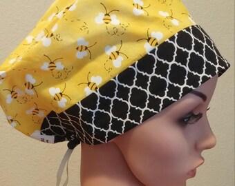 Women's Surgical Cap, Scrub Hat, Chemo Cap, Black Quatrefoil, Bumble Bees