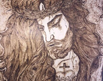 Jesus hand-made wooden pyrographic technique