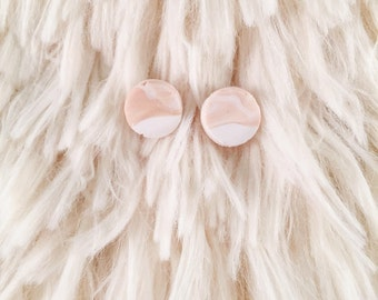 beautiful handmade polymer clay earrings. marbled studs. pink and white accessory